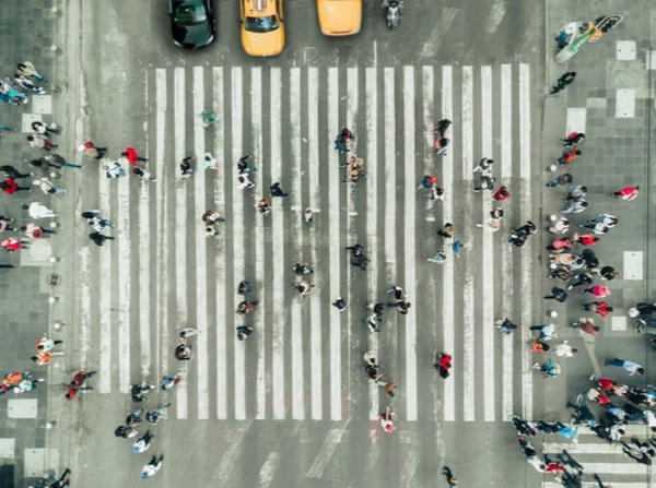 Aerial view of pedestrians at a crosswalk